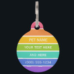 """Rainbow Colors custom pet tag<br><div class=""""desc"""">Change the text fields to what you want. You can also change each font and its size and color,  as well as add more text fields,  by using the """"Customize it"""" function. See my store for more rainbow items.</div>"""