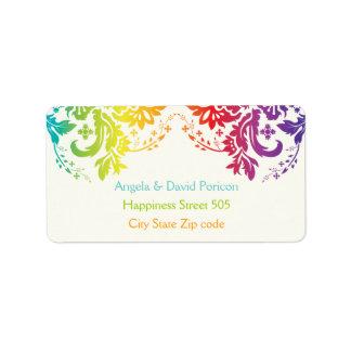 Rainbow colors damask request 1 label