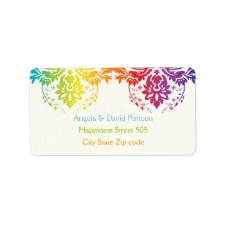 Rainbow colors damask request label