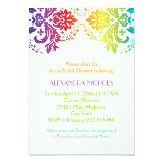 Rainbow colors damask wedding bridal shower card
