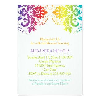 Rainbow colors damask wedding bridal shower 5x7 paper invitation card