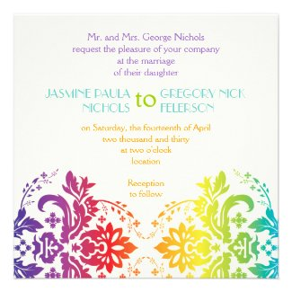 Rainbow colors damask wedding personalized invitations