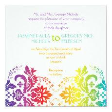 Rainbow colors damask wedding 5.25