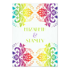 Rainbow colors damask wedding 5