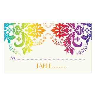 Rainbow colors damask wedding place card business card