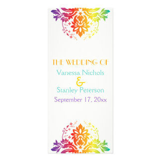 Rainbow colors damask wedding program