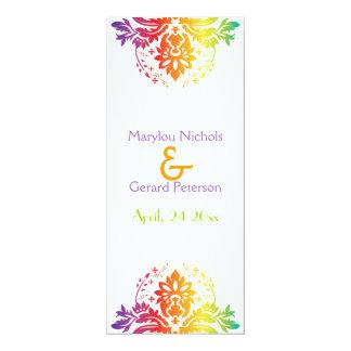 Rainbow colors damask wedding program card
