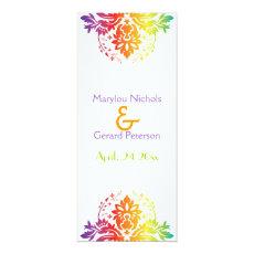 Rainbow colors damask wedding program card 4