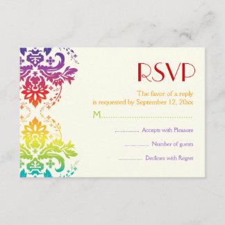 Rainbow colors damask wedding RSVP