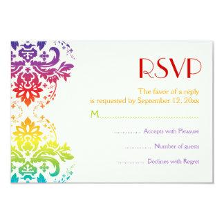 Rainbow colors damask wedding RSVP Card