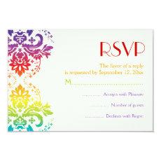 Rainbow colors damask wedding RSVP 3.5