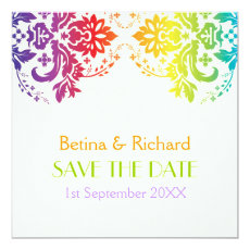 Rainbow colors damask wedding Save the Date 5.25