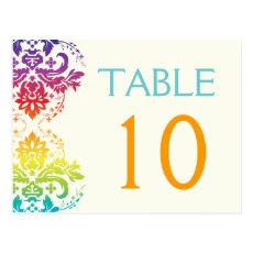 Rainbow colors damask wedding table number postcard