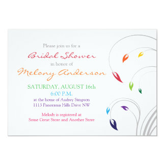 Rainbow Colors Floral Bridal Shower Invitation