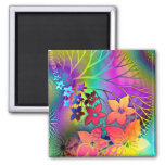 Rainbow Colors Floral Pattern 2 Inch Square Magnet