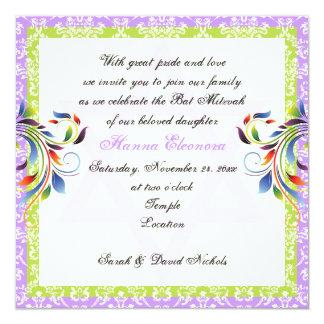 Rainbow colors flourish & Star of David damask Invitation