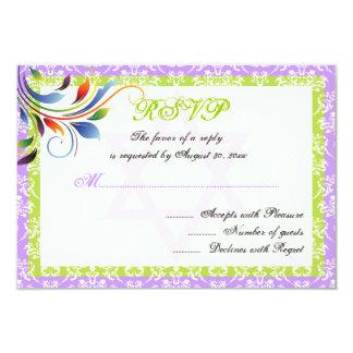 Rainbow colors flourish, Star of David damask RSVP 3.5x5 Paper Invitation Card
