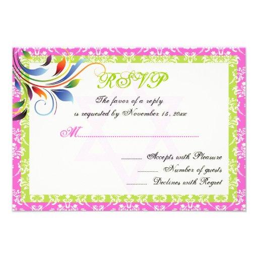 Rainbow colors flourish, Star of David damask RSVP Personalized Invites