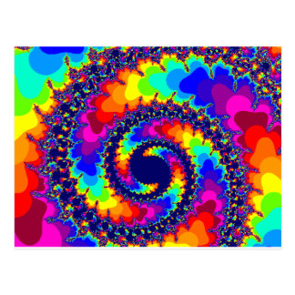 Rainbow Colors Fractal Image Postcard