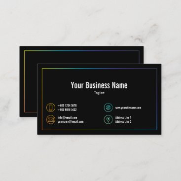 Rainbow Colors Frame Contact Icons Black Business Card
