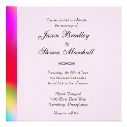Rainbow Colors Gay Wedding Invitation