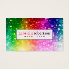 Rainbow Colors Glitter And Sparkles Business Card at Zazzle