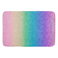 Rainbow Colors Glitter Sparkle Girly Glam Colorful Bathroom Mat