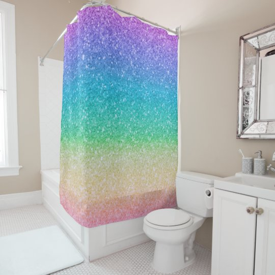 rainbow colors glitter sparkle girly glam colorful shower curtain - Colorful Shower Curtains