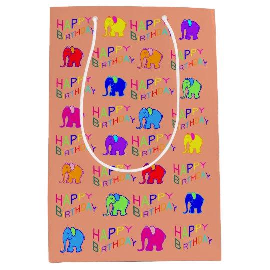Rainbow Colors Happy Cartoon Elephants Birthday Medium Gift Bag