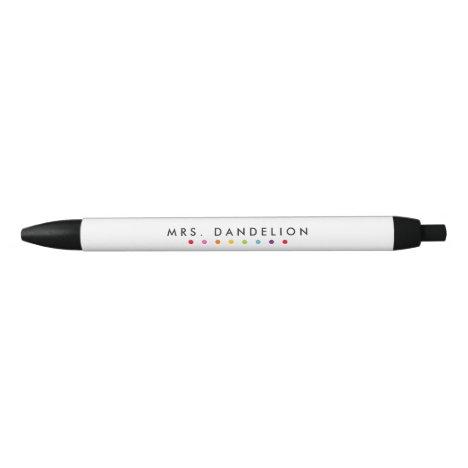 Rainbow Colors   Kindergarten Teacher Black Ink Pen