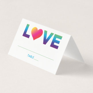 Rainbow Colors Love Text with Heart | Wedding Place Card
