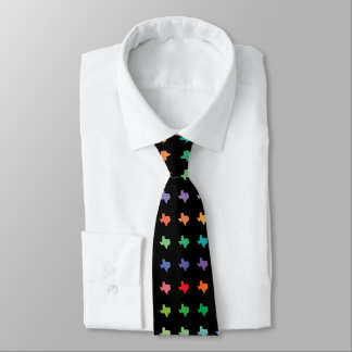 Rainbow Colors Map of Texas Pattern Tie