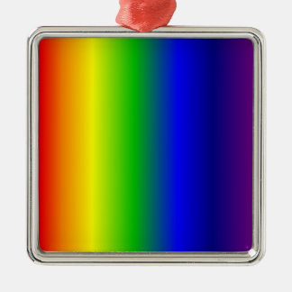 Rainbow Colors Metal Square Ornament