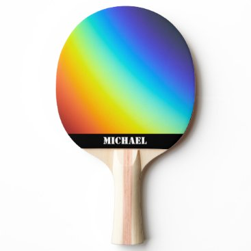 Rainbow Colors Name Black Ping Pong Paddle