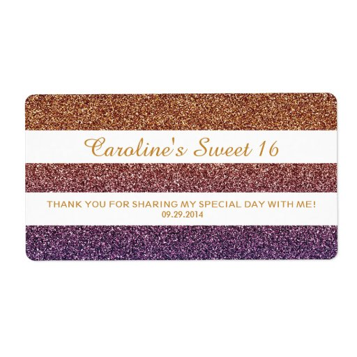Rainbow Colors Ombre Glitter Sweet 16 Bottle Favor Shipping Labels