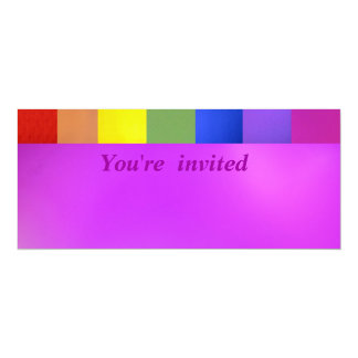 Rainbow Colors on Pink 4x9.25 Paper Invitation Card