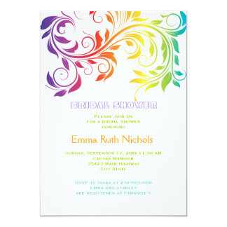 Rainbow colors scroll leaf wedding bridal shower card