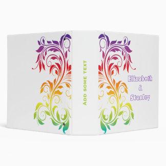 Rainbow colors scroll leaf wedding planner 3 ring binder