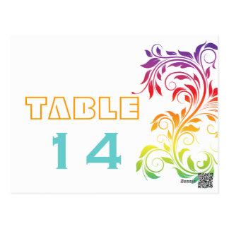 Rainbow colors scroll leaf wedding table number postcard