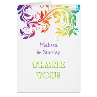 Rainbow colors scroll leaf wedding Thank You Card