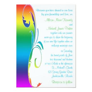 "Rainbow Colors Scrolled Wedding Invitation 5"" X 7"" Invitation Card"