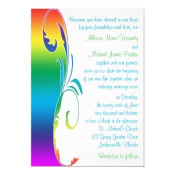 Rainbow Colors Scrolled Wedding Invitation