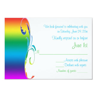 Rainbow Colors Scrolled Wedding Reply Card