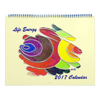 Rainbow Colors Spirals 2017 Calendar Huge Two Page