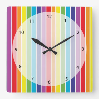 Rainbow colors square wall clock