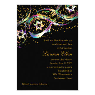 Rainbow Colors Stars Flourish Gold Confetti Card