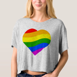 Rainbow Colors Striped Heart T-shirt
