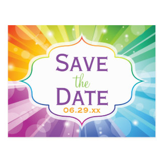 Rainbow Colors Striped Save the Date Post Card