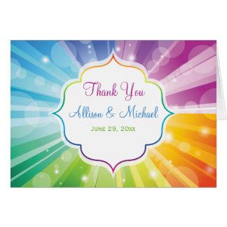 Rainbow Colors Striped Sunburst Thank You Card