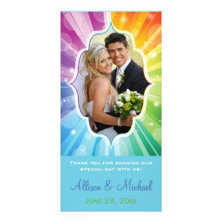 Rainbow Colors Striped Sunburst Wedding Photo Card